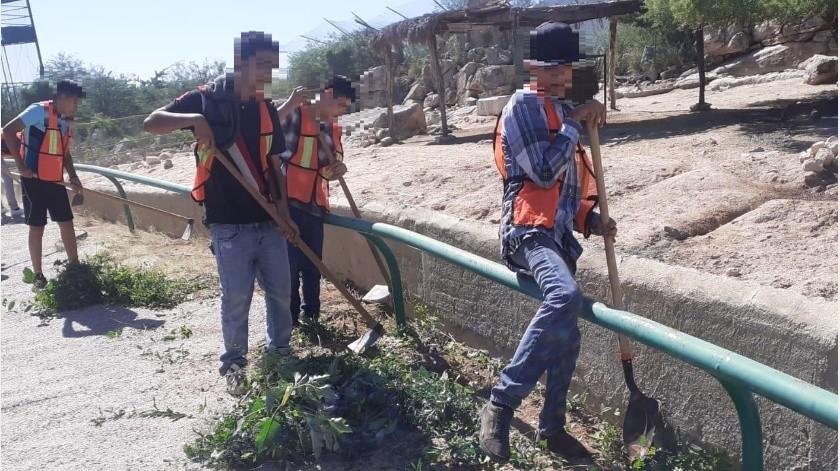 Una parte de los menores acudió a dar mantenimiento al Centro Ecológico del Estado de Sonora.(Cortesía)
