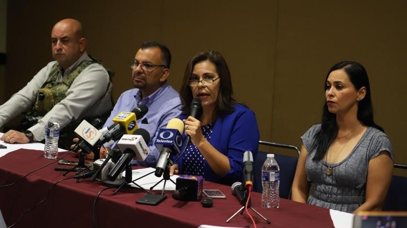 En conferencia de prensa en Hermosillo, Sara Valle, alcaldesa de Guaymas, habló sobre el atentando en su contra.(Teodoro Borbón)