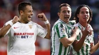 Chicharito contra Guardado y Lainez en el Sevilla vs Betis