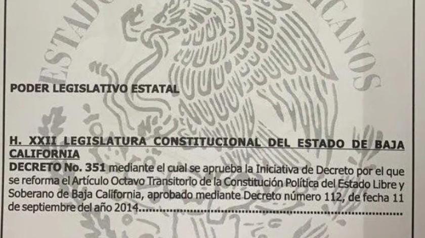 El decreto que aumentó la siguiente gubernatura de dos a cinco años, fue publicado en el Periódico Oficial del Estado (PEO) de Baja California, dando una oficial vigencia desde este 18 de octubre.(Cortesía)