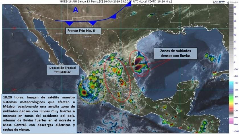 """La tarde de hoy, """"Priscilla"""" se localizó en tierra, aproximadamente a 35 kilómetros (km) al este-noreste de Manzanillo, Colima."""