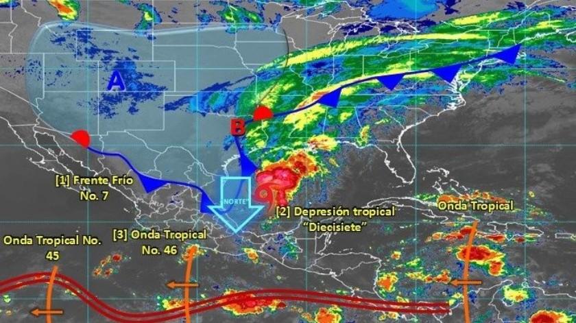 A las 10:00 horas, tiempo del centro de México, se formó la depresión tropical diecisiete en el Golfo de México.