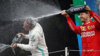 Sebastian Vettel terminó segundo por detrás del piloto británico Lewis Hamilton.