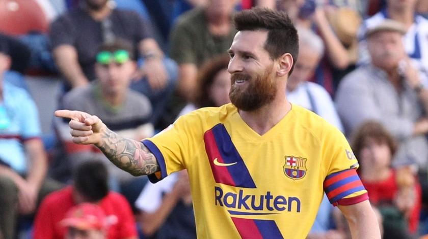 Lionel Messi tras anotar un gol para el Barcelona en el partido ante Levante por la Liga española, el 2 de noviembre de 2019.(AP)