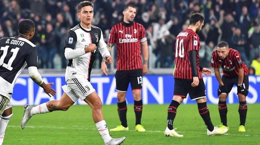 Juventus vs Milán: Dybala entra por Ronaldo y resuelve victoria con gol(EFE)