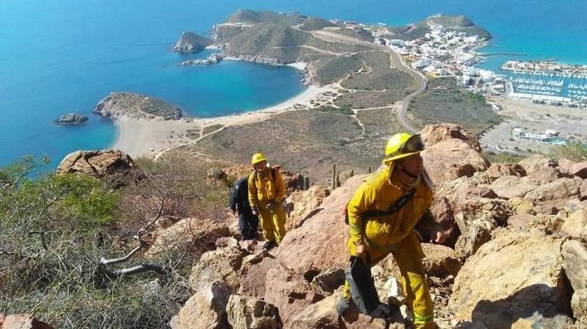 Los Bomberos Voluntarios rescataron a una familia y a una mujer que realizaban senderismo en cerros de Guaymas y San Carlos.(Especial)