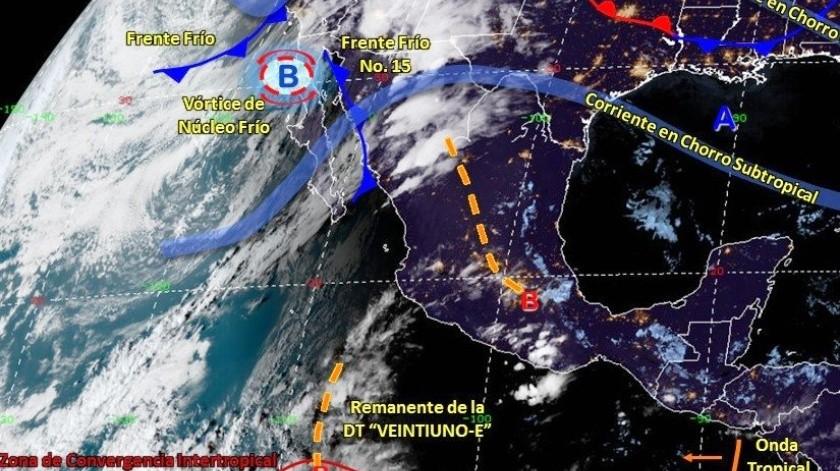 Asimismo, se prevén lluvias puntuales intensas en Sonora y Chihuahua, y muy fuertes en áreas de Baja California, Durango y Sinaloa.
