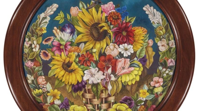 """La pintura de Frida Kahlo de 1941 """"Canasta con flores"""", parte de la subasta de arte latinoamericano de Christie's en Nueva York programada para los días 20 y 21 de noviembre.(AP)"""
