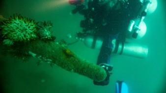Imagen del Instituto Nacional de Antropología e Hiatoria (INAH), de los restos del naufragio del cañonero