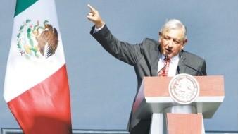 López Obrador durante su discurso en el Zócalo capitalino.