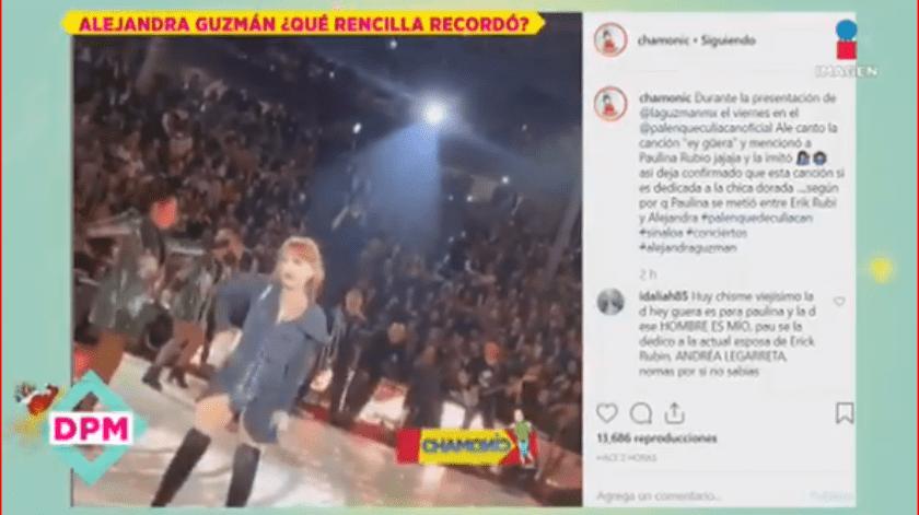 Guzmán durante su presentación en Culiacán, cambió la letra de la canción e imitó los movimientos y acento de Paulina.
