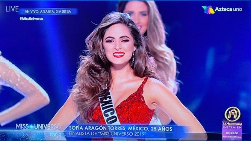 Sofía Aragón de México tercer lugar en Miss Universo