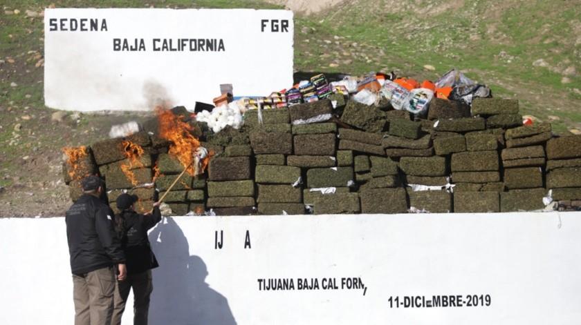 Incineraron más de 5 toneladas de mariguana.(Gustavo Suárez)