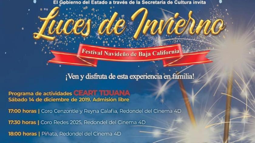 """Residentes y visitantes de Tijuana podrán disfrutar de las """"Luces de Invierno"""", a partir de las 17:00 horas, con el Coro Cenzontle y Reyna Calafia, en el Redondel del Cinema 4D.(Cortesía)"""
