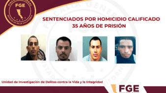 Cuatro homicidas reciben sentencia de 35 años en prisión