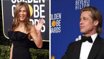 Brad Pitt y Jennifer Aniston asistieron a los Golden Globes.