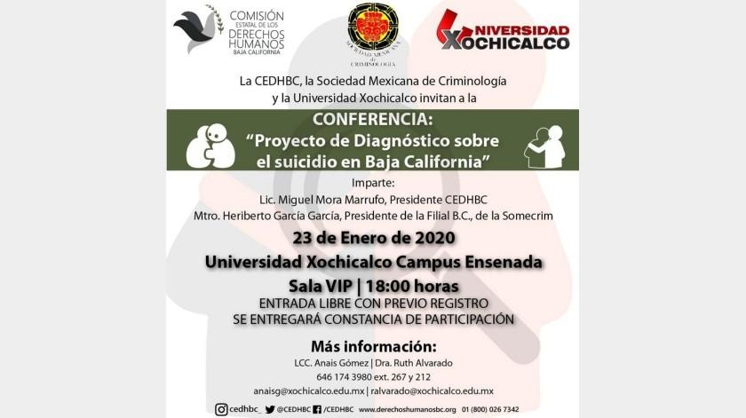 La cita es el jueves 23 de enero de 2020, a las 18:00 horas, en la sala VIP de la Universidad Xochicalco campus Ensenada.(Cortesía)
