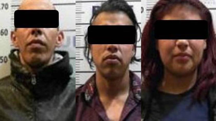 Los detenidos son Erick Eduardo N.,Librado N y Jackelinne N.(Cortesía)