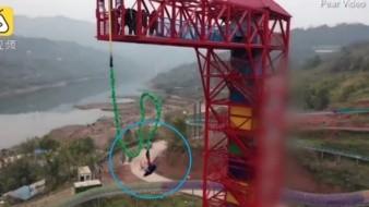VIDEO: Aterrado, cerdito es lanzado desde un bungee en China