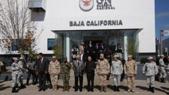 • El gobernador Jaime Bonilla Valdez y el secretario federal de Seguridad, Alfonso Durazo Montaño, encabezaron la inauguración de la comandancia de la Guardia Nacional.