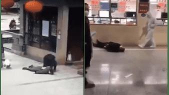 VIDEO: Personas al parecer con coronavirus colapsan en calles de China