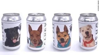 Crean latas de cerveza con caras de perritos en adopción