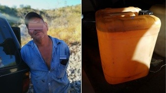 Detienen a hombre por tratar de robar 20 litros de diésel de su trabajo
