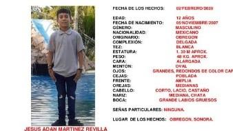La Fiscalía General de Justicia de Sonora informó que se activó en Cajeme y permanece en ese estado la Alerta Amber para localizar al menor Jesús Adán Martinez Revilla, de 12 años de edad.