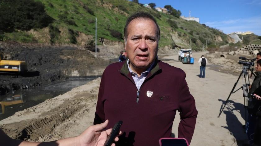 Arturo González Cruz visitó los trabajos de reparación del Cañón del Matadero.(Sergio Ortiz)
