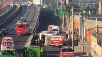 15 heridos en volcadura de autobús de pasajeros en autopista México-Pachuca
