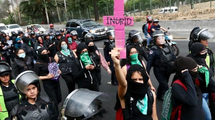 Colectivos feministas protestaron por el caso de Ingrid Escamilla y la violencia contra la mujer en México.(Agencia Reforma)