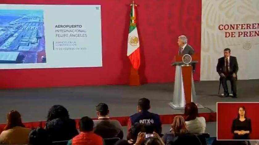 Aeropuerto de Santa Lucía avanza un 5.40%: AMLO(Captura de Pantalla)