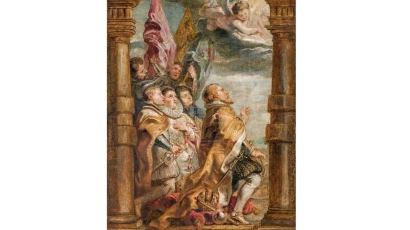 En el boceto se puede ver a un grupo de personajes de la familia de los Habsburgo, representantes del poder civil del momento.(Cortesía Twitter)