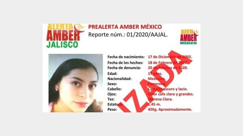 En un boletín, la Fiscalía señaló que aún continúa la búsqueda de las otras dos menores de edad desaparecidas.(Alerta Amber Jalisco)