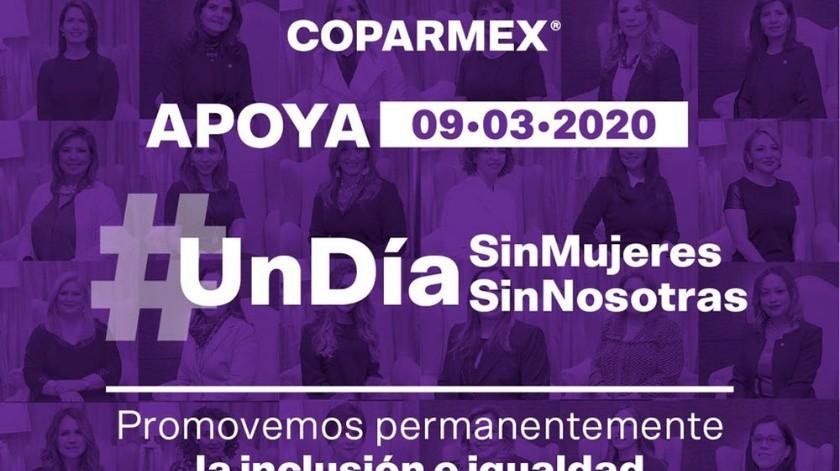 La Coparmex hizo un llamado para que a través del silencio e inacción de este paro nacional #UnDíaSinMujeres #UnDíaSinNosotras, se escuche la voz y la exigencia femenina más fuerte que nunca.(Cortesía Twitter)