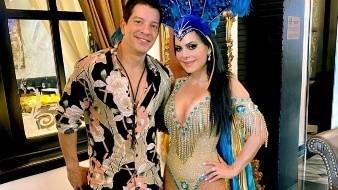 Maribel Guardia impactó en un sensual traje junto al cantante Yahir.