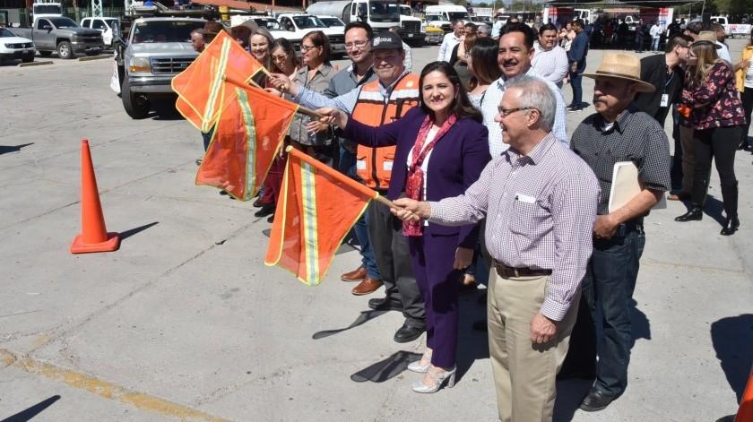 La alcaldesa Célida López Cárdenas dio el banderazo al Plan Intensivo de Rehabilitación de Pavimentos 2020.(REDACCIÓN GH)