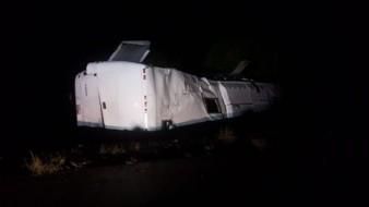 Accidente de autobús en carretera Guaymas-Hermosillo deja 12 lesionados