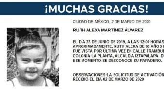 Ella se llama Ruth Alexa Martínez Álvarez, fue vista por última vez el día 23 de julio de 2019.