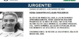 La joven se llama Kenia Samantha Holguín Pegueros, fue vista por última vez el día 3 de marzo de 2020 en la colonia Santo Domingo.