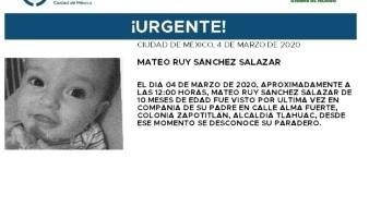 El niño lleva por nombre Mateo Ruy Sánchez Salazar, fue visto por última vez el día 4 de marzo del 2020, en la colonia Zapotitlán, alcaldía Tláhuac.