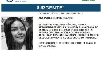 La menor lleva por nombre Ana Paola Quiroz Franco, fue vista por última vez el día 01 de marzo del 2020 en la colonia Morelos, alcaldía Venustiano Carranza.