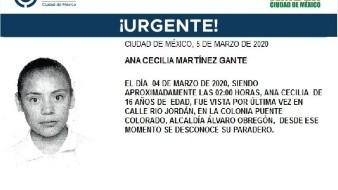 La adolescente lleva por nombre Ana Cecilia Martínez Gante, fue vista por última vez el día 04 de marzo de 2020 en la colonia Puente Colorado, alcaldía Álvaro Obregón.