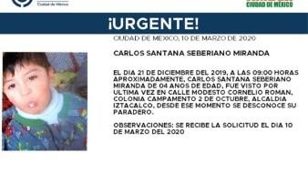 El niño lleva por nombre Carlos Santana Seberiano Miranda, fue visto por última vez el día 21 de diciembre de 2019 en la colonia Campamento 2 de Octubre, alcaldía Iztacalco.