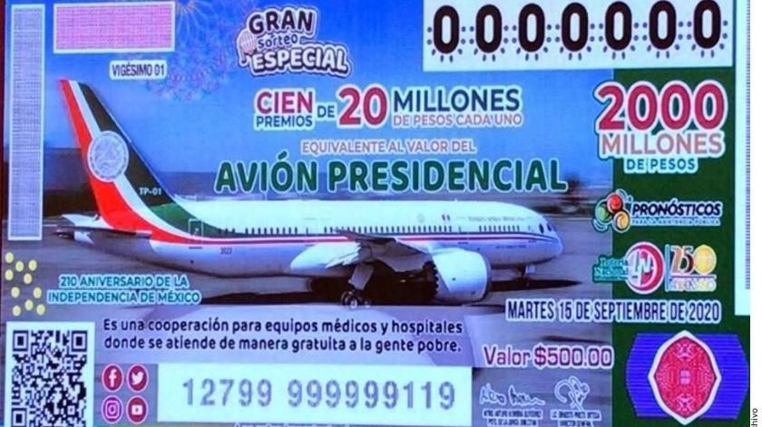 El que gane la rifa no se llevará el avión TP01, y es que son 100 premios con valor a 2 millones de pesos, lo que en sumatoria es el costo de la nave.