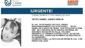 Buscan a la menor Yetzil; desapareció el 9 de marzo