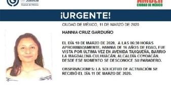 Ella se llama Hannia Cruz Garduño, fue vista por última vez el día 10 de marzo de 2020 en Barrio La Magdalena Culhuacán, alcaldía Coyoacán.