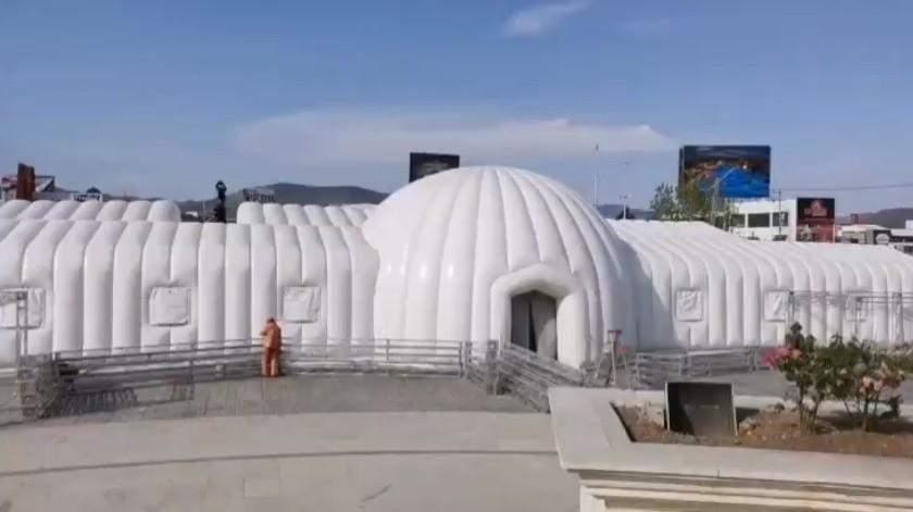 Por coronavirus, instalan hospital inflable en Hidalgo(Captura de pantalla)