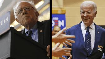 Bernie Sanders (izq), se dirige a la multitud durante un mitin en el Centro Moda en Portland, Oregón, el 25 de marzo de 2016 / Joe Biden (der) durante un acto en Norfolk, Virginia, el 1ro de marzo del 2020