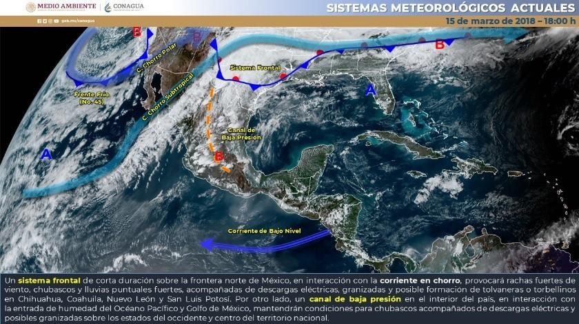 Se estiman temperaturas matutinas de -5 a 0 grados Celsius en zonas serranas de Baja California, Chihuahua y Durango.